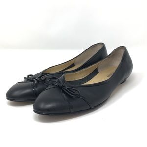 Ros Hommerson Black Leather Ballet Flats Size 9 e7